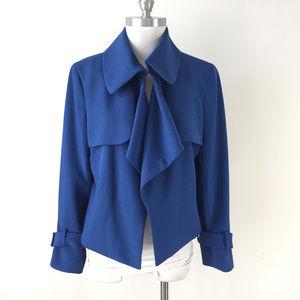 Anne Klein 14 Peacock Blue Cropped Trench jacket